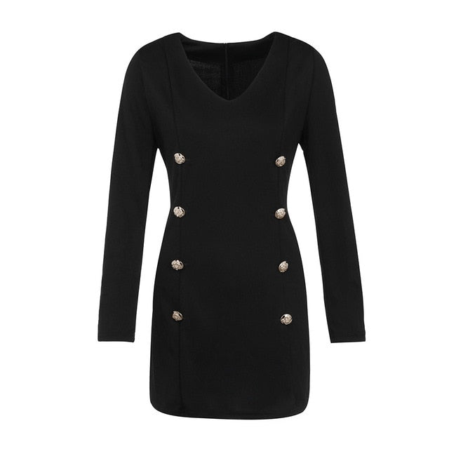 Chic Button Black Dress - TWUMBAAH