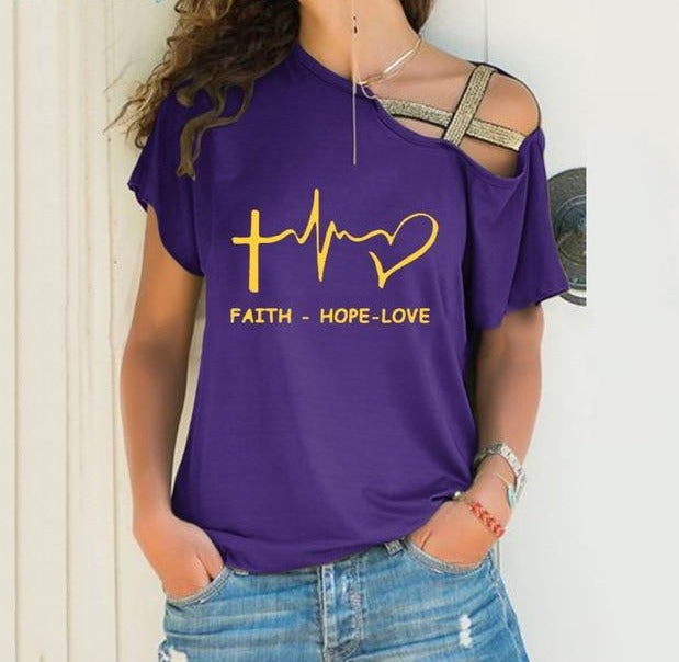 Faith Hope Love Cross Bandage Shirt - TWUMBAAH