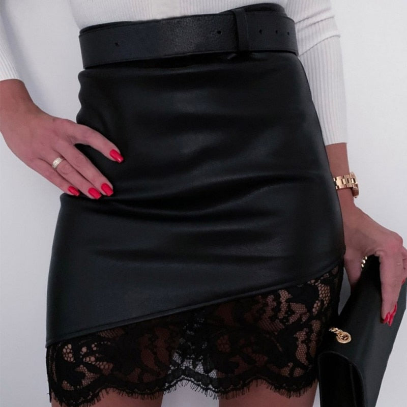 Lace Leather Skirt - TWUMBAAH