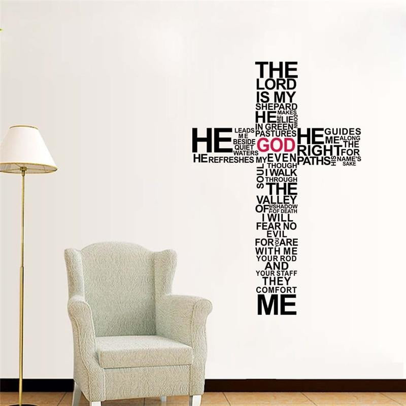 Psalm 23, Oversized Cross Wall Decal - Fashion Serving Christ Boutique