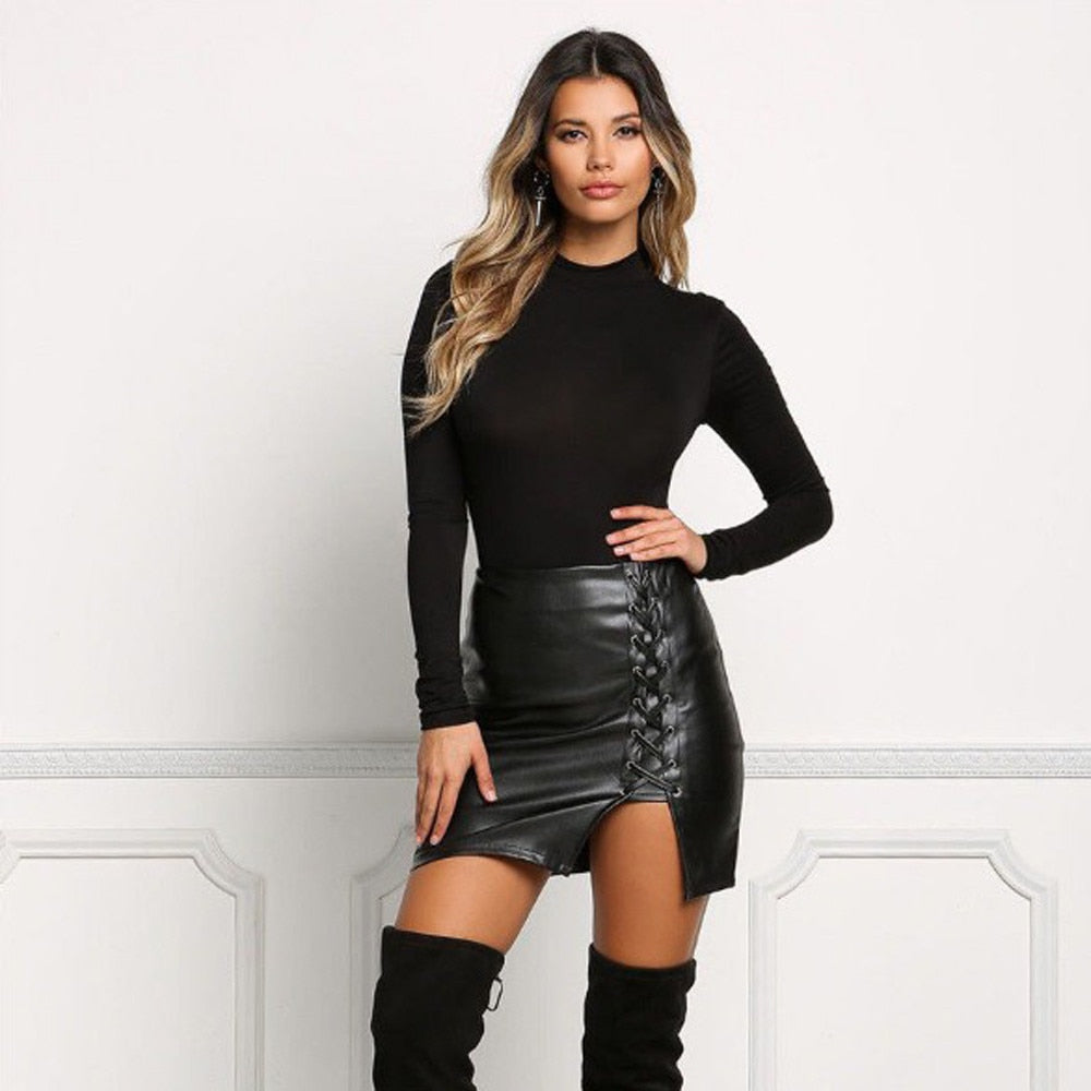 Faux Leather Slit Skirt - TWUMBAAH