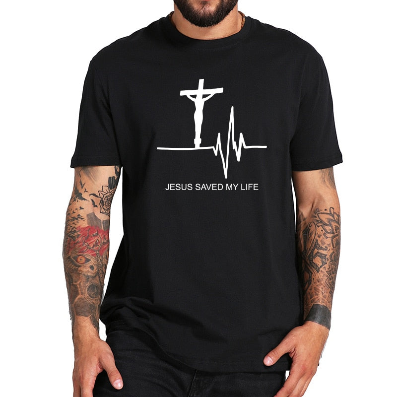 Jesus Saved My Life Heartbeat Shirt - TWUMBAAH