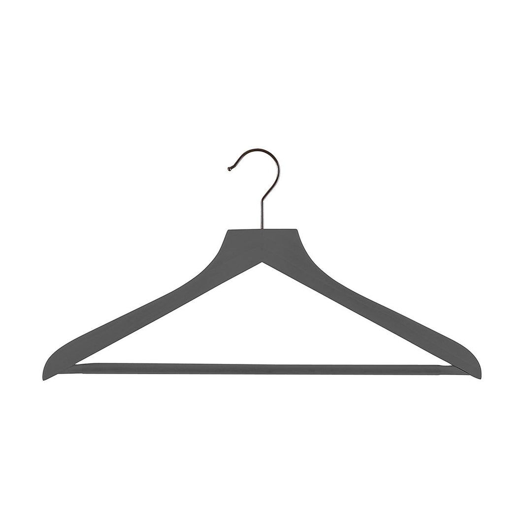 Wooden Shirt Hanger Ribbed Bar Grey Pkg/6