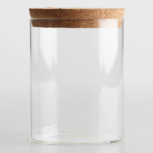 Small Glass Canisters with Cork Lid