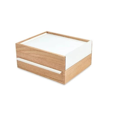 White and Wood Jewelry Box