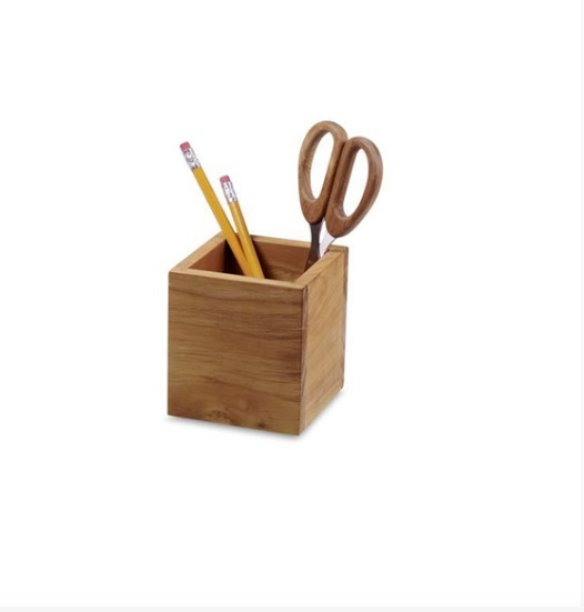 Bamboo Square Pencil Cup