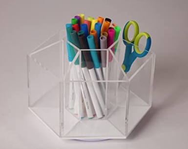 Acrylic 7 Compartment Spinning Desktop Organizer