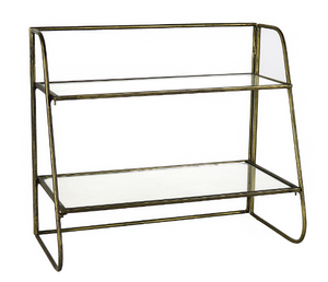 Two-Tiered Brass Stand w/ Glass