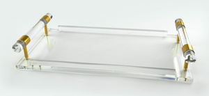 Clear Lucite Tray with Clear Handles & Gold Trim