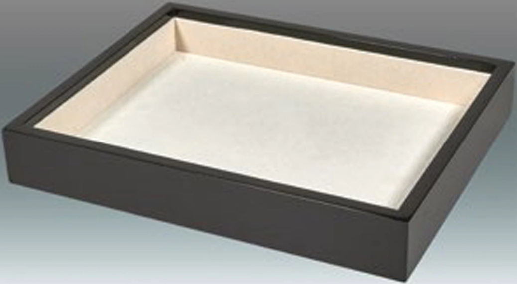 Stackable Black Wood Tray