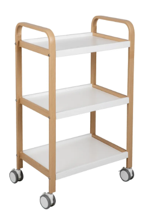 White Plastic and Wood 3 Tiered Rolling Cart