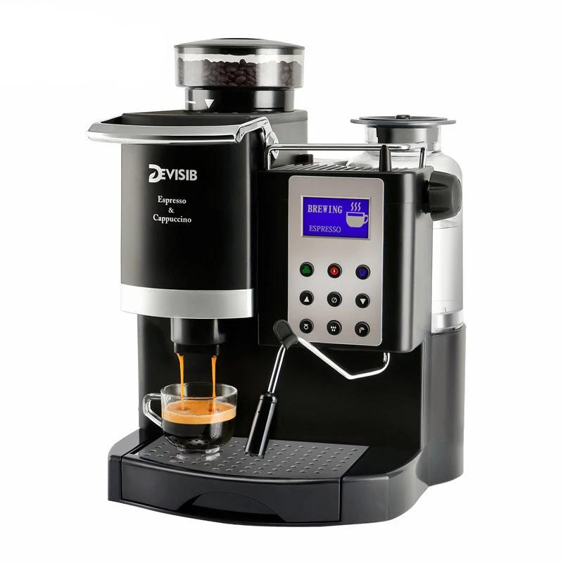 DEVISIB Professional Grade 1200W 10 Bar Automatic Espresso/Cappuccino Machine With Bean Grinder