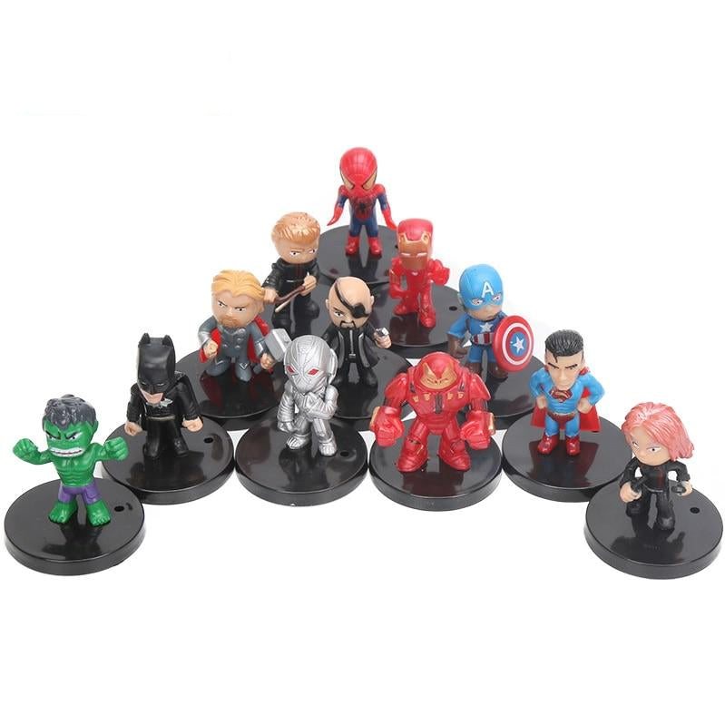 12 Piece Set 4-5cm Mini Hero Figures Iron Man Thor Hulk Captain America Batman Superman Spiderman And More