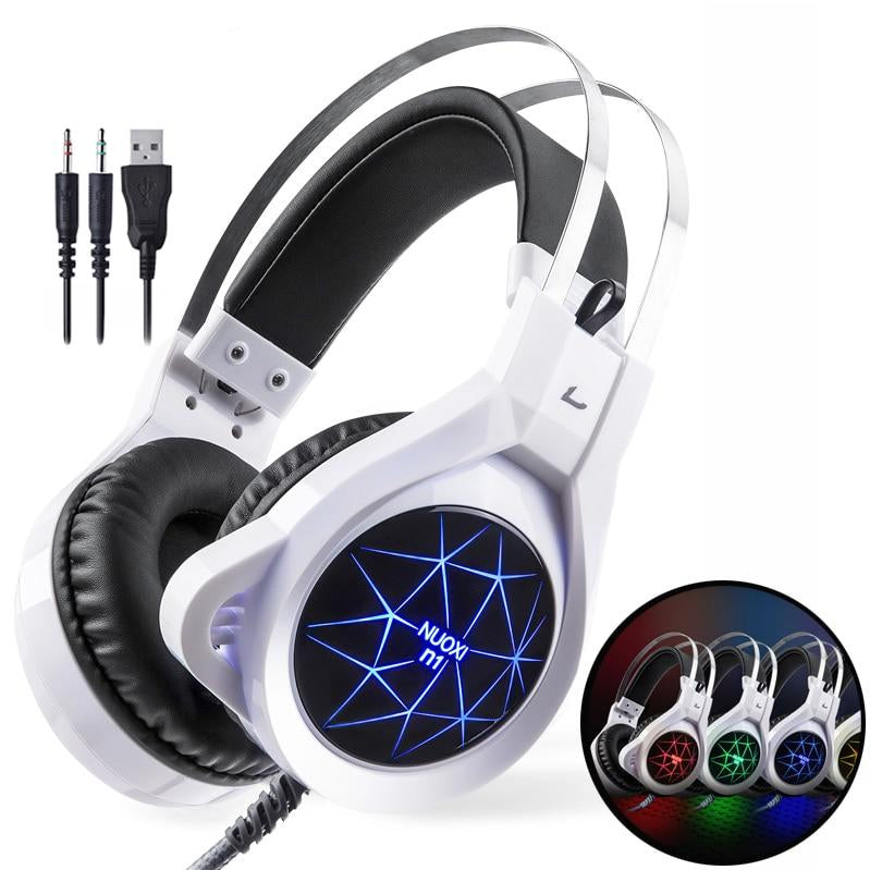 NUOXI N1 USB Stereo Gaming Headphones With Built In Or Gooseneck Mic & LED Light