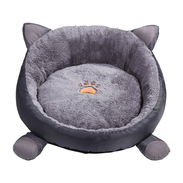 Warm Fleece Cat Shaped Cat Bed - Washable Mat Cover
