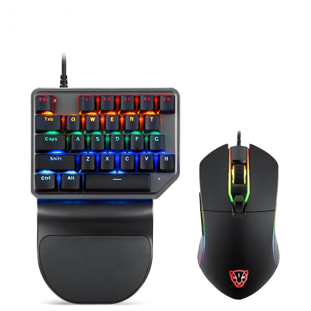 Motospeed K27 27 Key Single Hand Mechanical Backlit Gaming Keyboard & V30 Adjustable 3500DPI Mouse