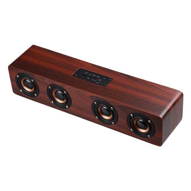 Yinew 20W Sound Bar/Tower Bluetooth Speaker With Card Slot + FM - Wood Box - Four Colors