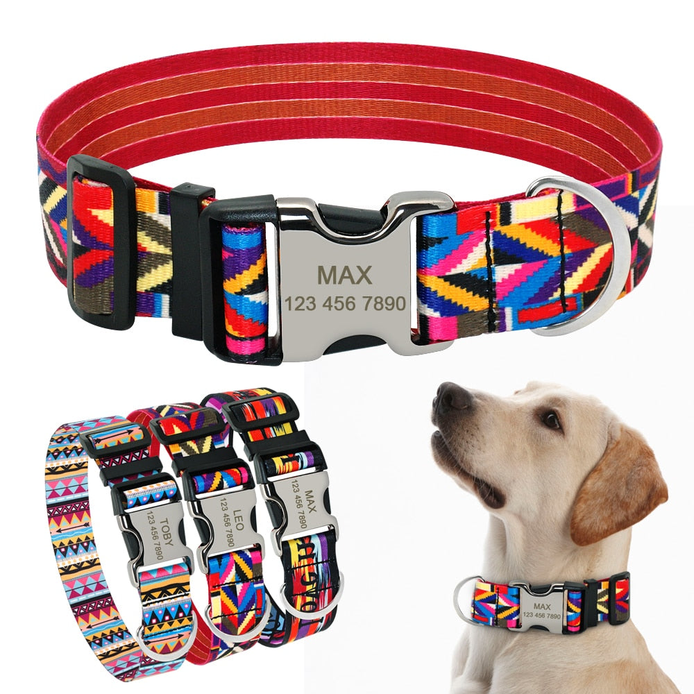 Custom Engraved Vibrant Nylon Adjustable Collar