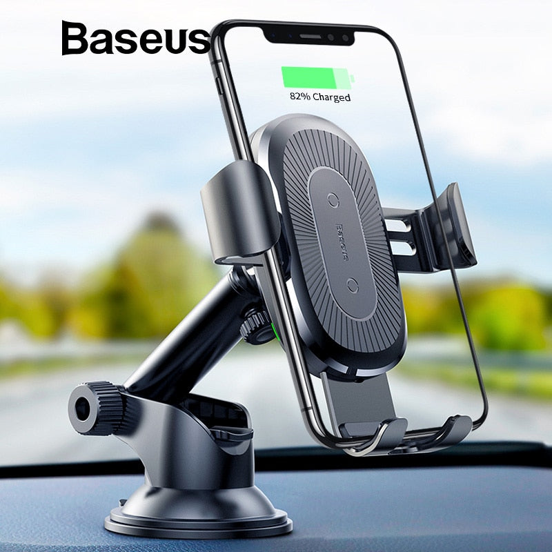 Baseus 2 in 1 Qi Wireless Car Charger Car Mount Mobile Phone Holder