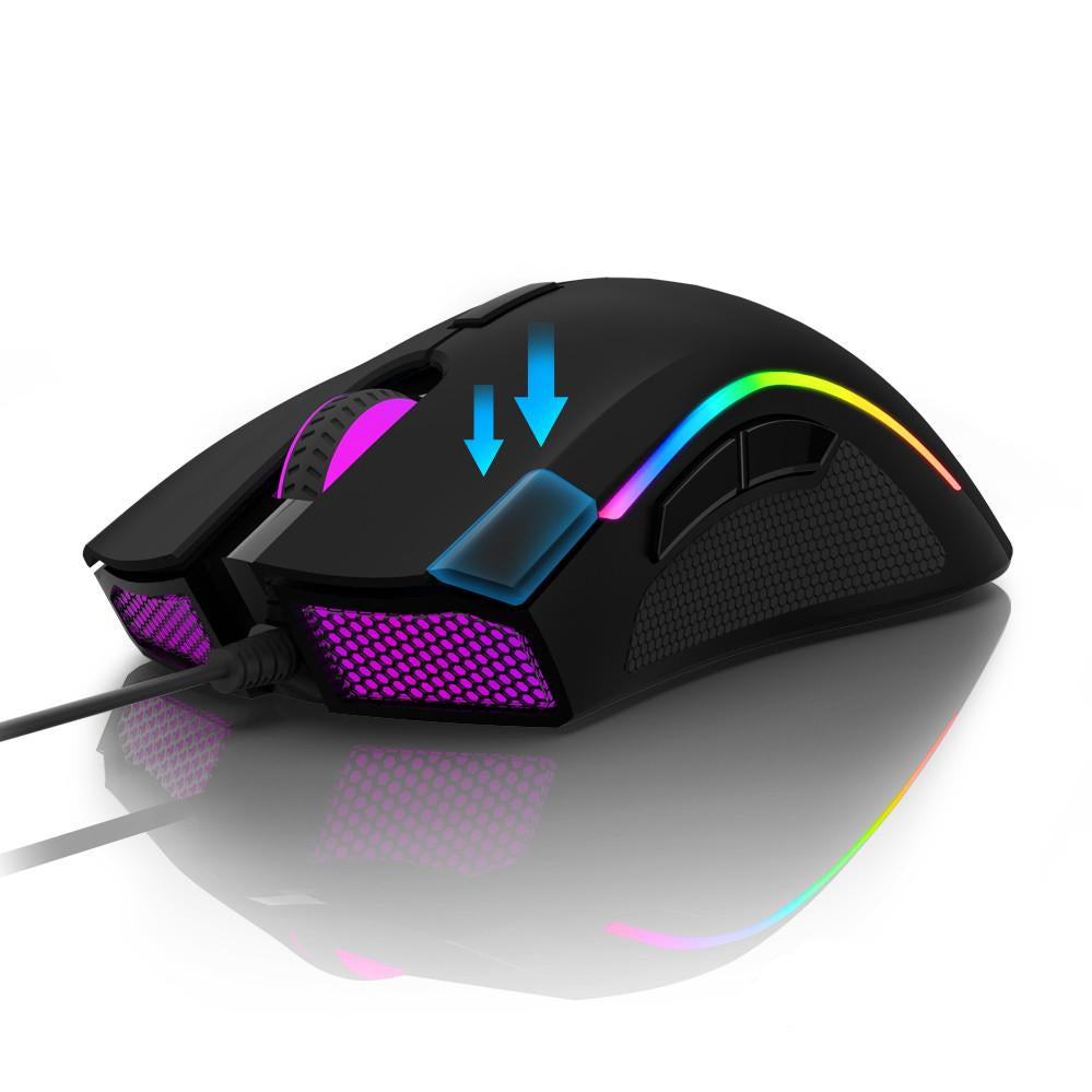 Delux M625 PMW3360 Sensor Wired Gaming Mouse 12000DPI 12000FPS 7 Buttons RGB Backlight with Fire Key