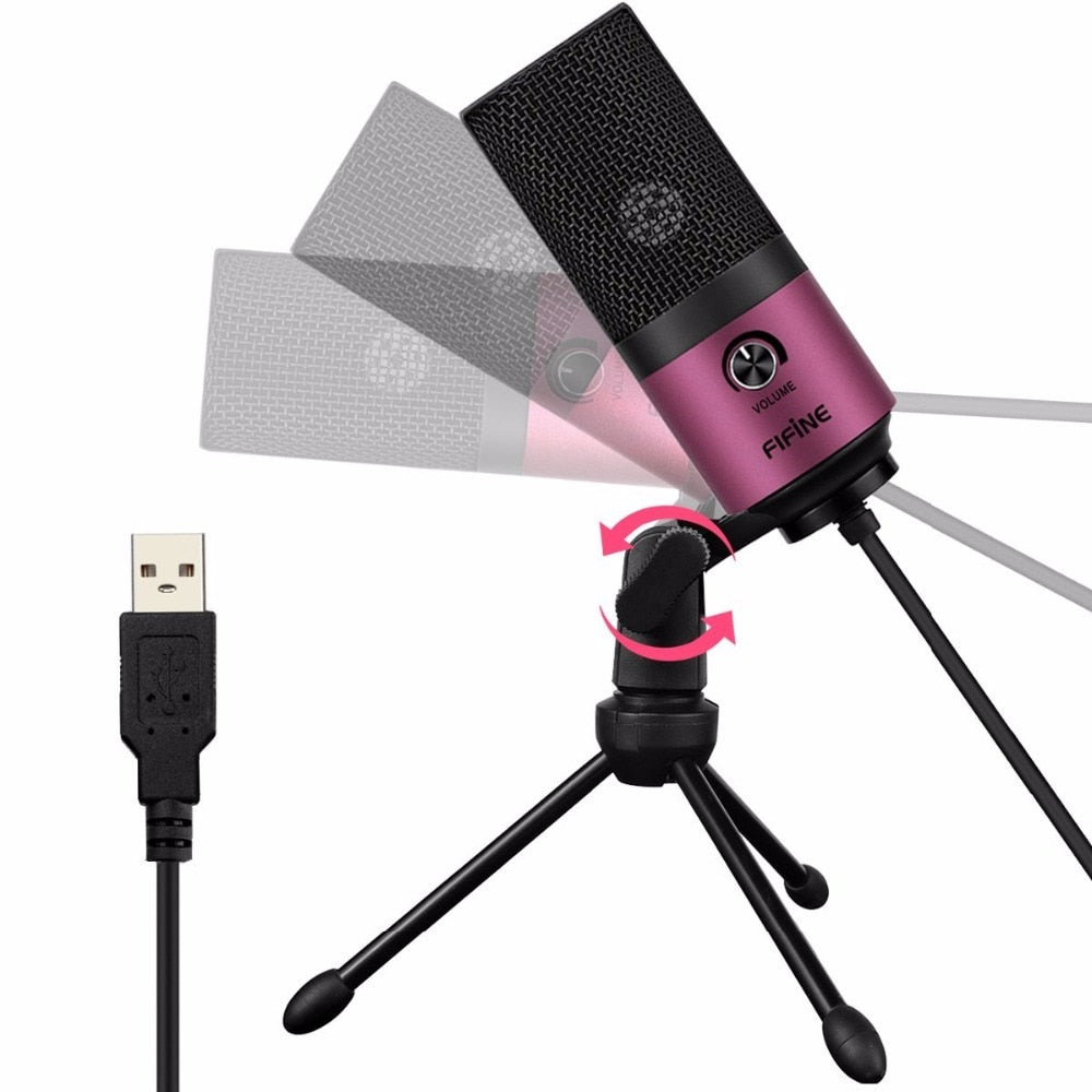 Fifine USB MIC High Quality Desktop Condenser Microphone With Stand