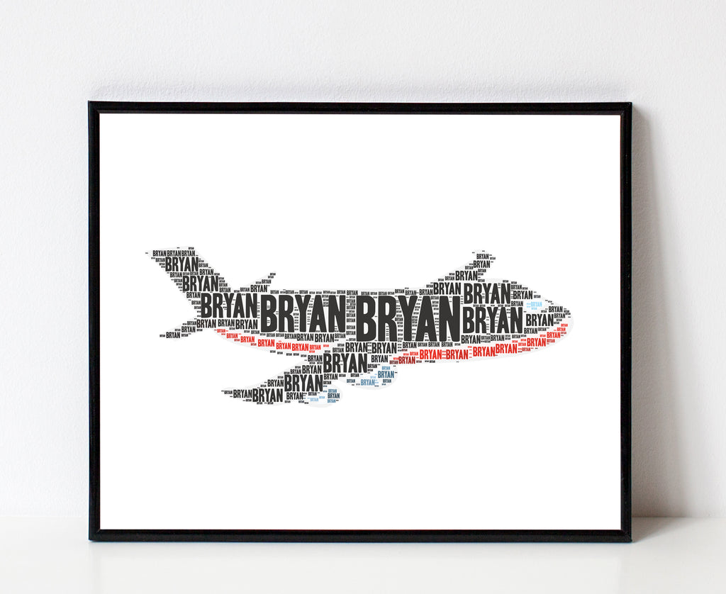 Personalized Airplane Art Print