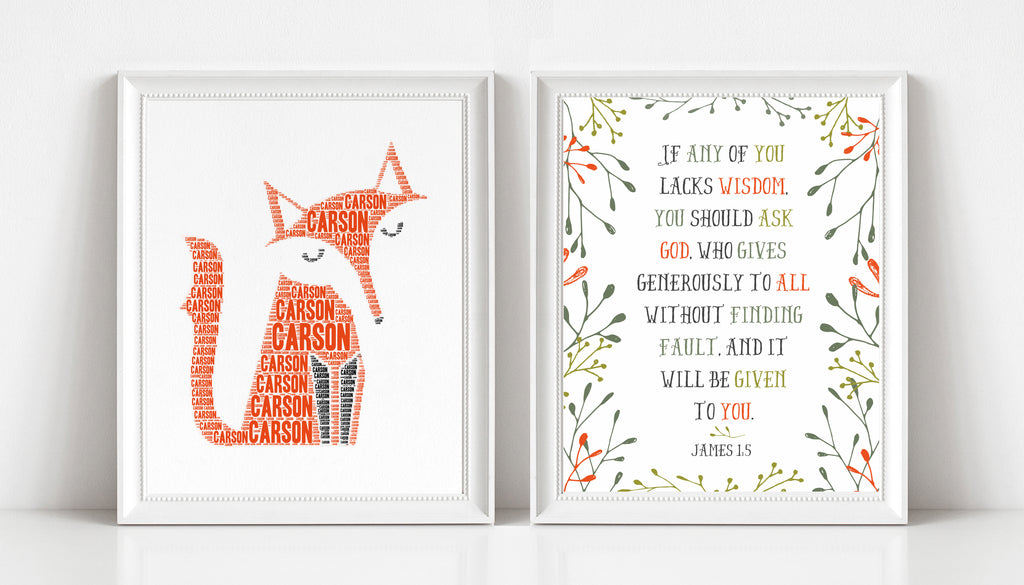 Personalized Fox Art Print and Bible Verse Print Set for Kids - If Any Lacks Wisdom