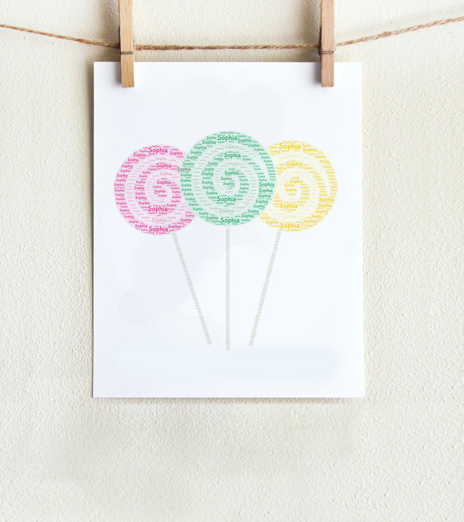 Personalized Swirl Lollipop Print