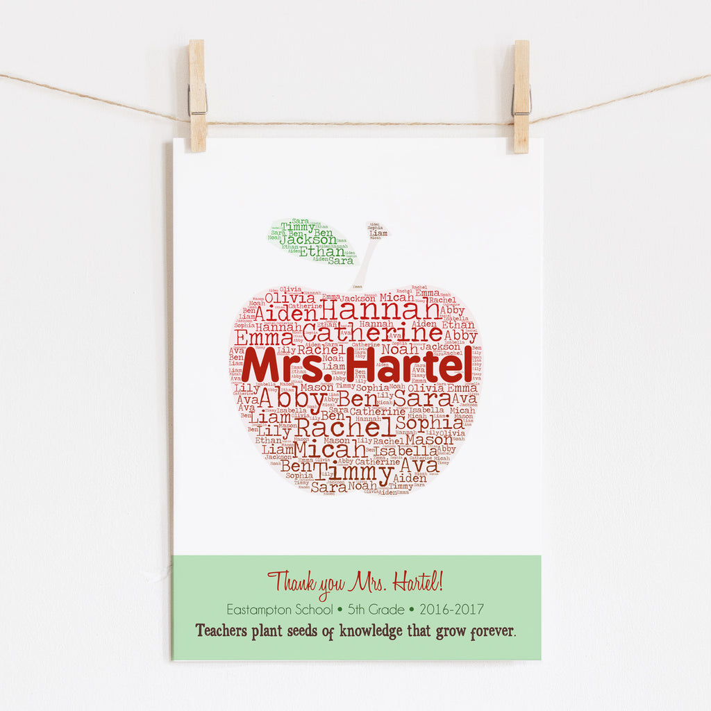 Personalized Apple Teacher Gift Print