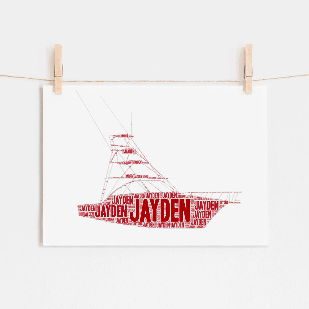 Personalized Fishing Boat Art Print