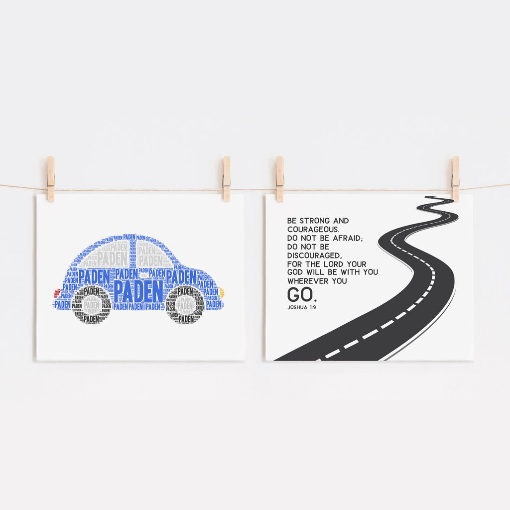 Custom Car Art Print and Kids Bible Verse Set, Be Strong and Courageous, Joshua 1:9