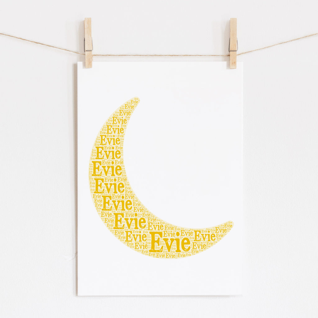 Personalized Crescent Moon Art Print