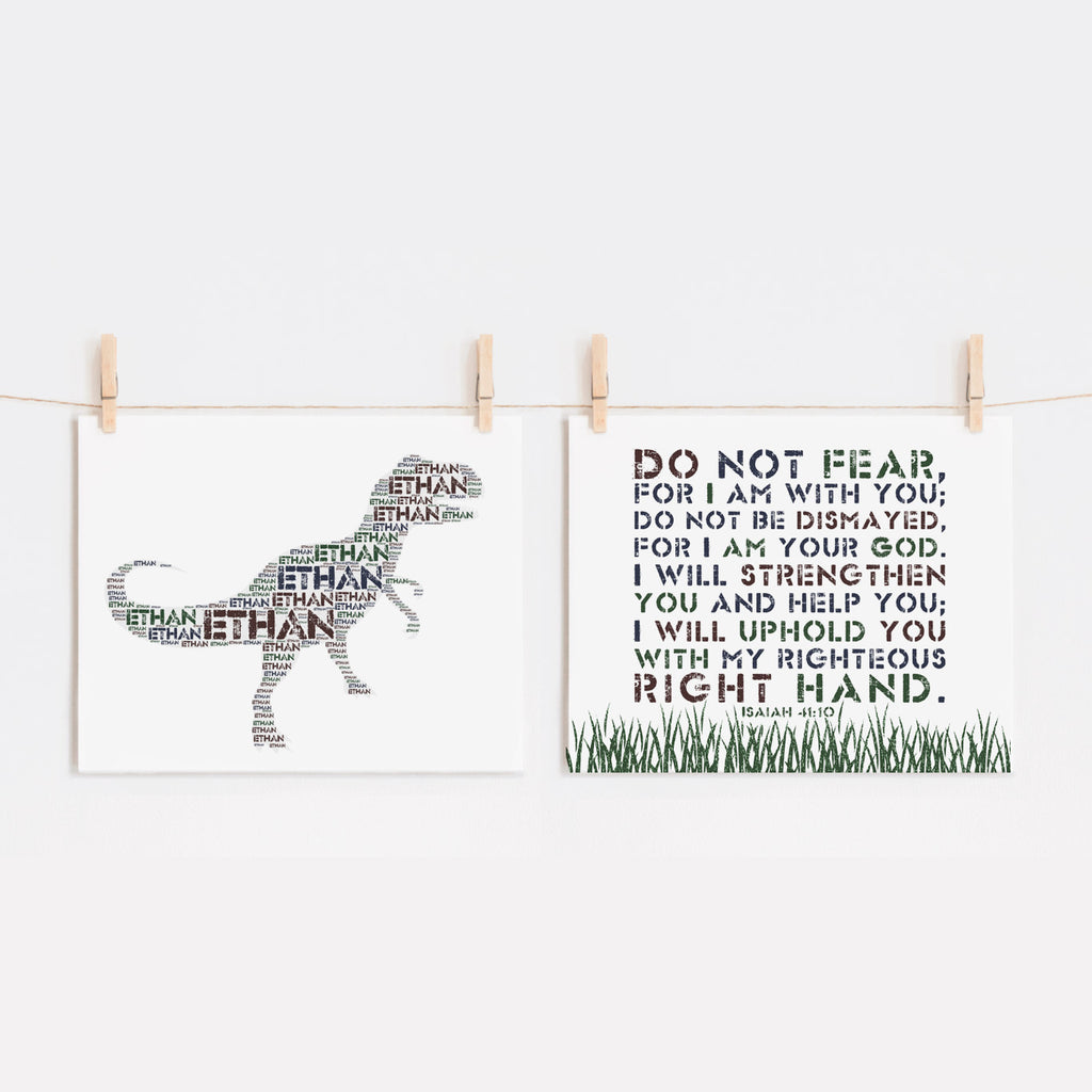 Personalized T Rex Art Print and Bible Verse Print Set for Kids - Do Not Fear For I Am With You