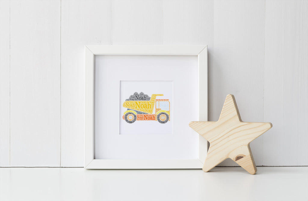 Personalized Construction Truck Print - Dump Truck