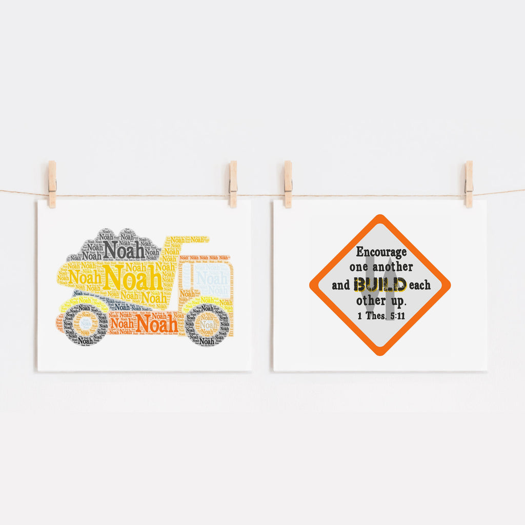 Custom Dump Truck and Scripture Print Set, Encourage One Another, I Thessalonians 5:11
