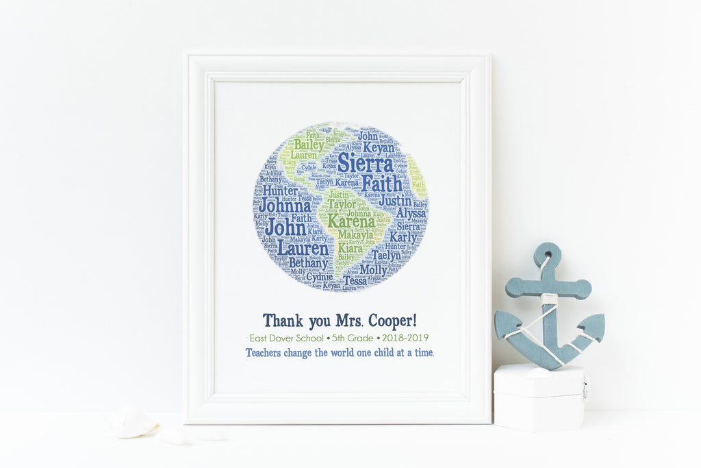 Personalized Teacher Gift Print - Teachers Change the World