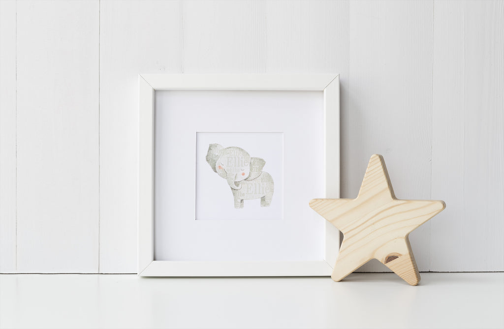 Personalized Elephant Art Print