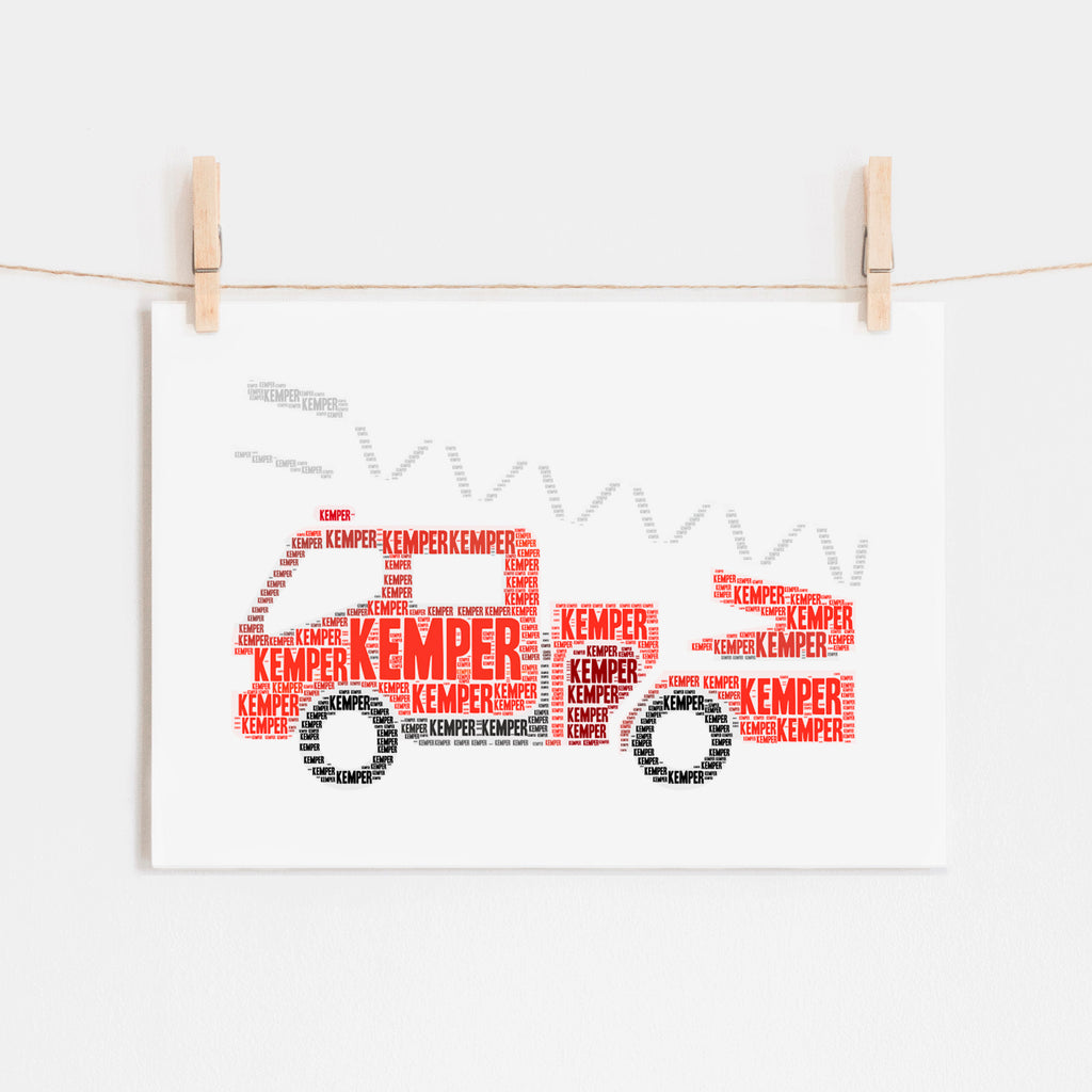 Personalized Fire Truck Art Print