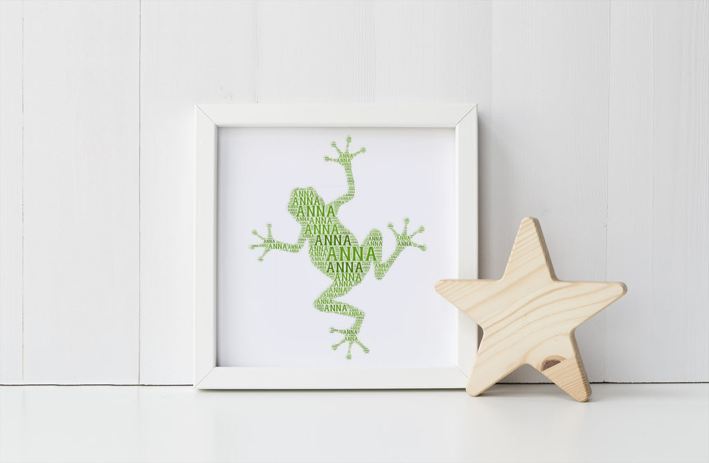 Personalized Frog Art Print and Bible Verse Print Set for Kids - Fully Rely on God - F.R.O.G.