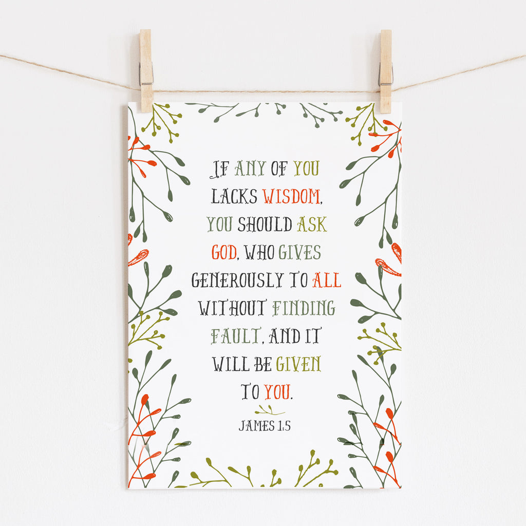 Scripture Print for Kids - If any of you lacks wisdom