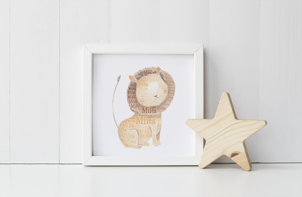 Personalized Lion Art Print
