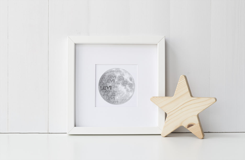 Personalized Moon Art Print and Bible Verse Print Set for Kids - In Peace I Will Lie Down and Sleep