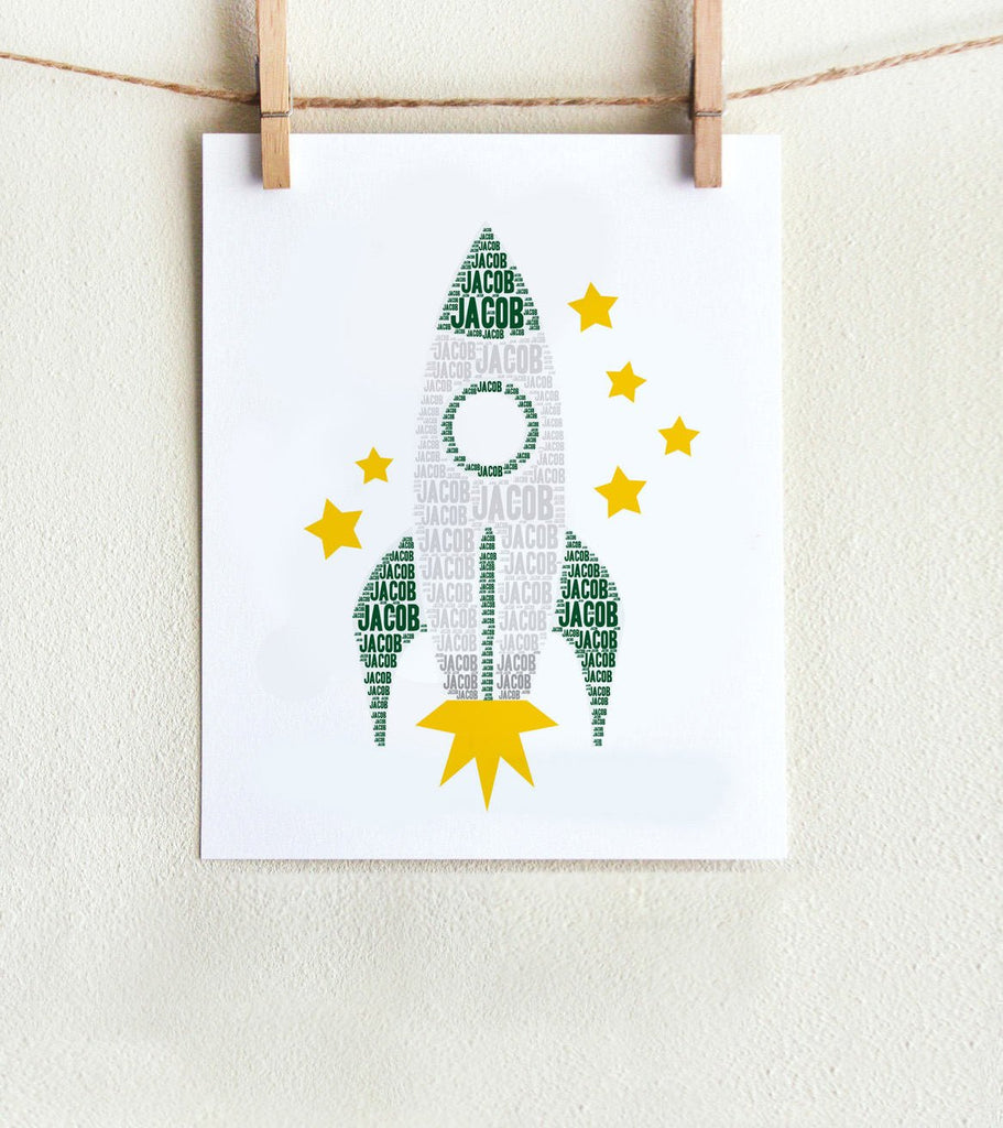 Personalized Rocket Art Print