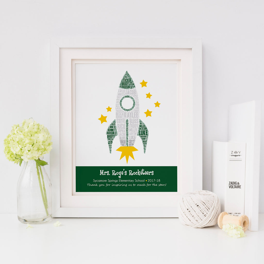 Personalized Rocket Teacher Gift Print
