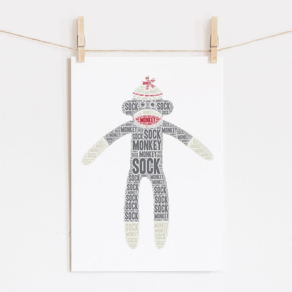 Personalized Sock Monkey Art Print