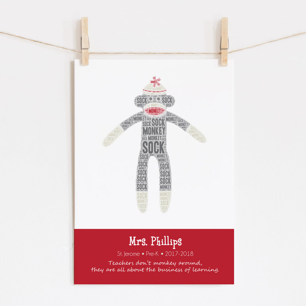 Personalized Sock Monkey Teacher Gift Print