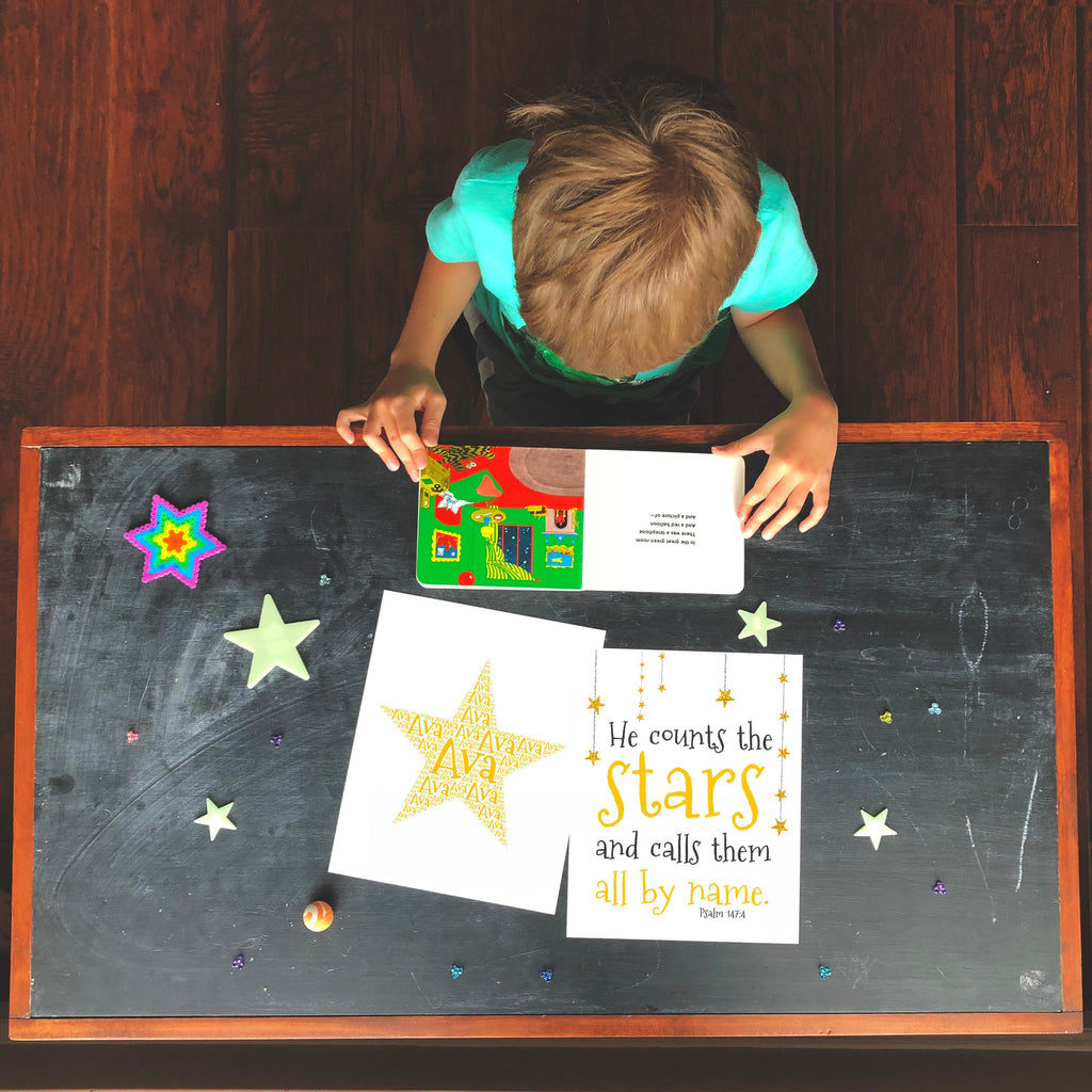 Personalized Star Art Print and Bible Verse Print Set for Kids - He Counts the Stars