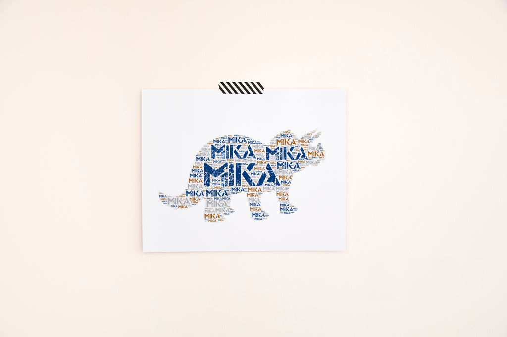 Personalized Dinosaur Art Print - Triceratops