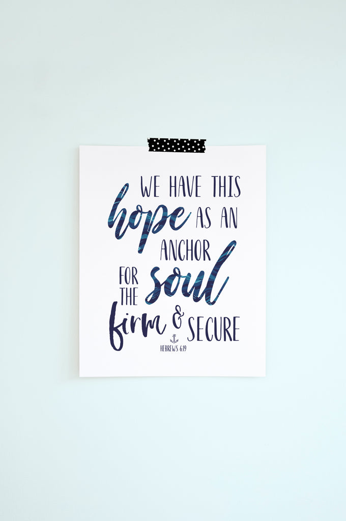 Custom Anchor Art and Kids Bible Verse Print Set, Anchor for the Soul, Hebrews 6:19
