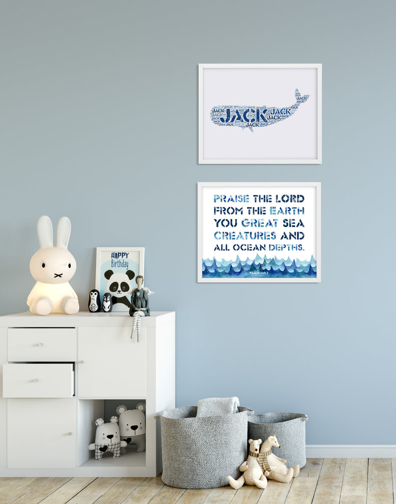 Personalized Whale Art Print and Bible Verse Print Set for Kids - Praise the Lord from the Earth